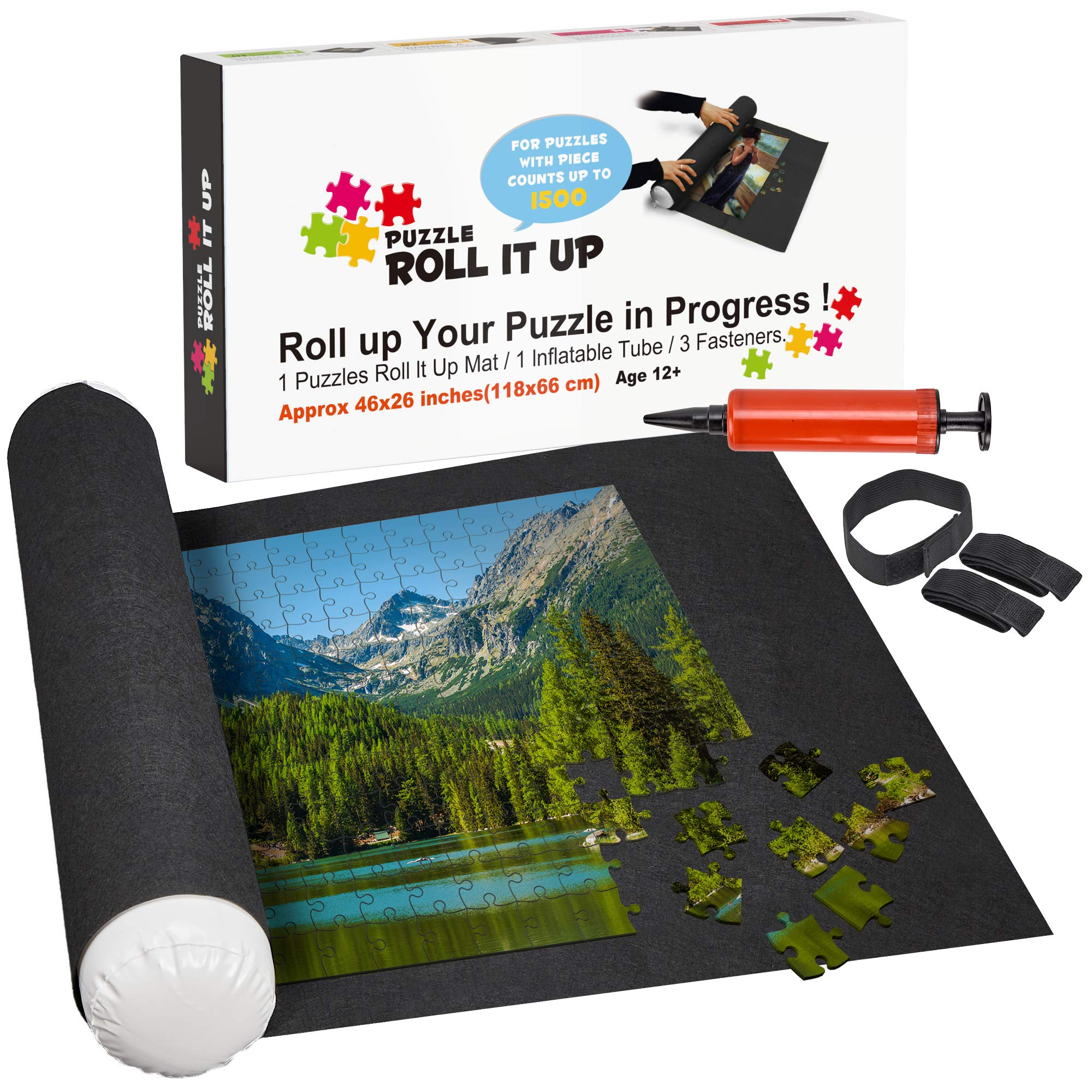 Puzzle Roll Up Mat Premium Pump - Store and Transport Jigsaw Puzzles Up to 1500 Pieces - 46'' x 26'' Felt Mat, Inflatable Tube, and 3 Elastic Fasteners - Plus Bonus New Improved Pump