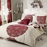 Just Contempo - set di biancheria da letto in stile moderno a righe e fiori/copripiumino matrimoniale rosso (bordeaux scarlatto vinaccia beige)