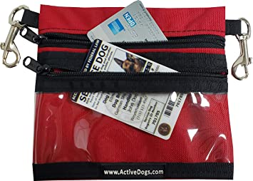 Activedogs Clip-On Service Dog ID Pocket Bag - 2 Zippered Storage Pouches, Clear Zippered Vinyl Front Pocket for Identification Cards or ADA Access Cards (Red)