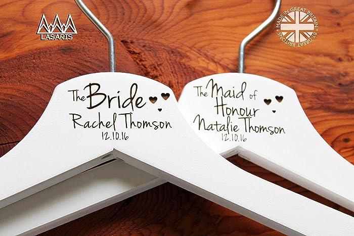 Personalised Hearts Bridesmaid Wedding Hanger In White Hanger