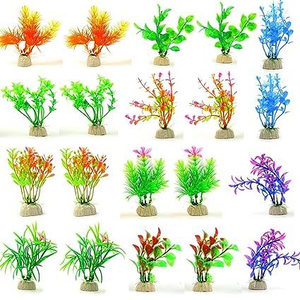 SLSON 20 Unidades de Decoraciones de Acuario Plantas de plástico Artificial Plantas Varios Colores pecera decoración