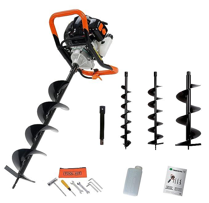 - Taladro térmico, sinfin 52 cc con 3 brocas 100, 150, 200 mm + alargador 30 cm: Amazon.es: Bricolaje y herramientas