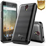 ZTE Maven 3 Case, ZTE Overture 3 Case with FREE [Tempered Glass Screen Protector], ZTE Prelude Plus Case(4G LTE), NageBee [Carbon Fiber Brushed] Defender [Dual Layer] Protector Hybrid Case (Black)