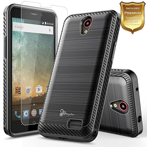 online store c7357 f22f5 NageBee [Carbon Fiber Brushed] [Dual Layer] Protector Hybrid Case  w/[Tempered Glass Screen Protector] Compatible with ZTE Maven 3/ Overture  3/ Prelude ...