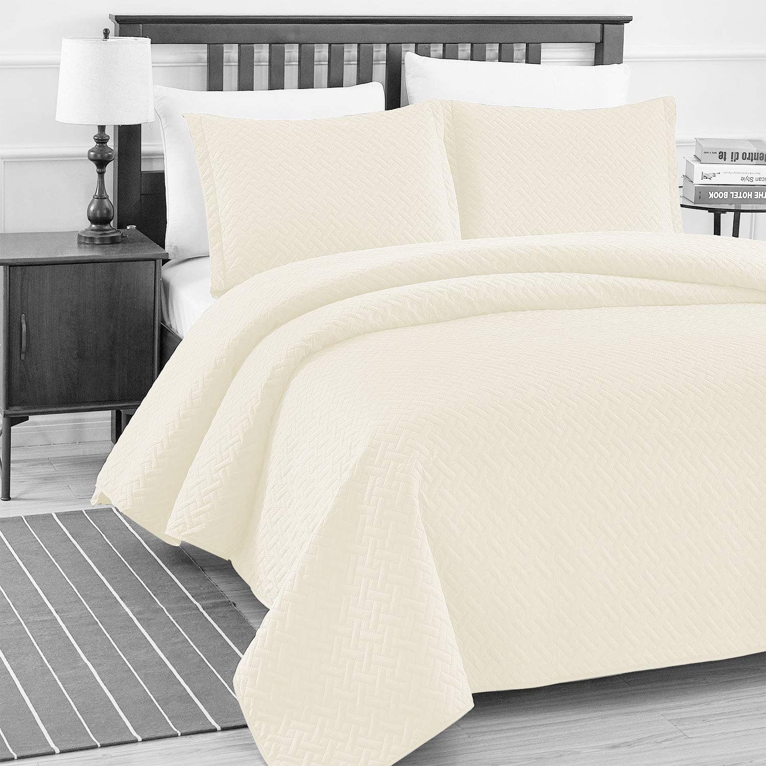Basic Choice Elegant 3-piece Light weight Oversize Quilted Bedspread Coverlet Set - Ivory, Full/Queen