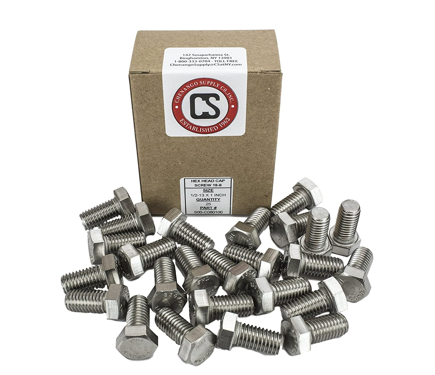 Chenango Supply 1//2 Flat Washer Stainless 1//2 Flat Washer 50 pieces Bolt Lengths Available in Listing 304 Stainless Steel