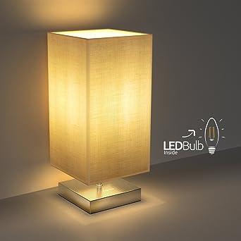 Nachttischlampe Aglaia Minimalist Stoff Schreibtischlampe Metall
