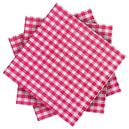 Aneco 60 unidades de servilletas de papel a cuadros rojos y ...