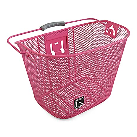 Bicycle Basket With Bracket Pink Front Quick Release