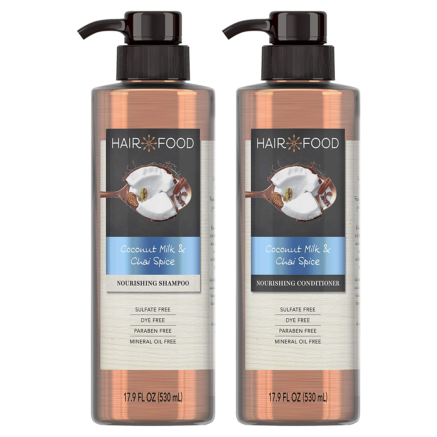 Hair Food Sulfate Free Nourishing Shampoo and Conditioner, Infused with Coconut Milk & Chai Spice, Dye Free, 17.9 Oz, Bundle