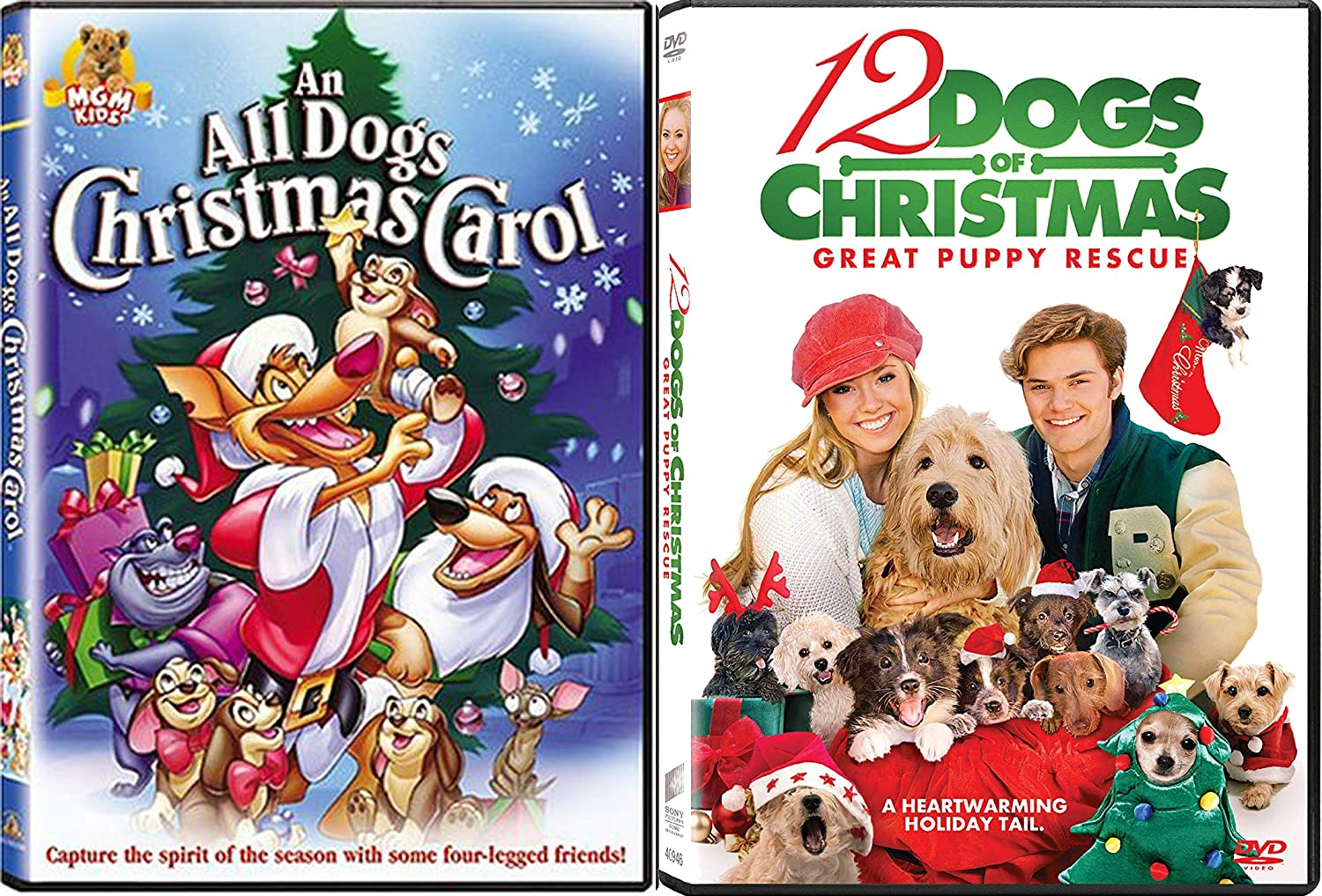 Holiday Pups and Doggy's Have Fun Too! 12 Dogs of Christmas: Great Puppy Rescue & All Dogs Christmas Carol 2-DVD Bundle