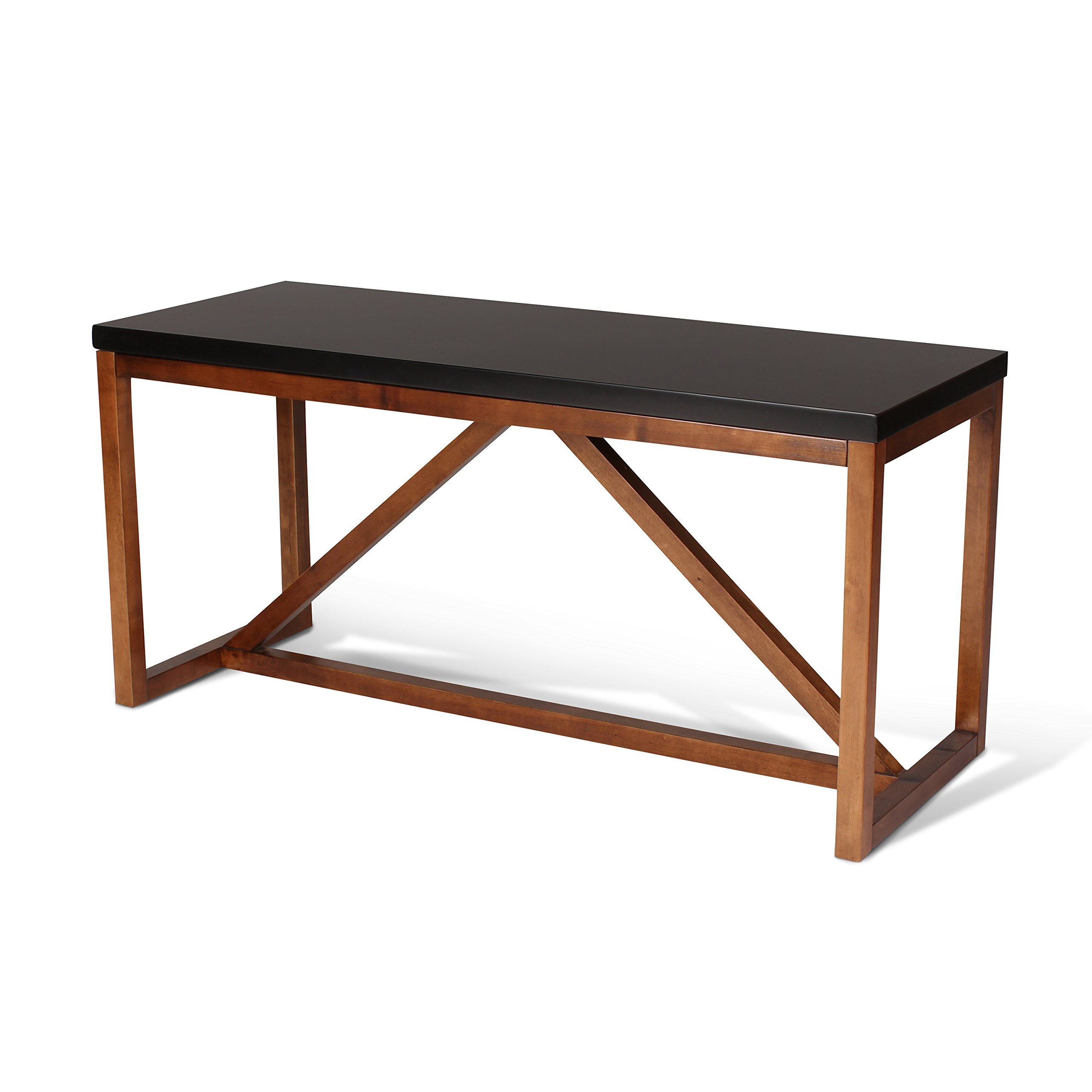 Kate and Laurel Kaya Two-Toned Wood Bench with Black Top and Walnut Brown Base