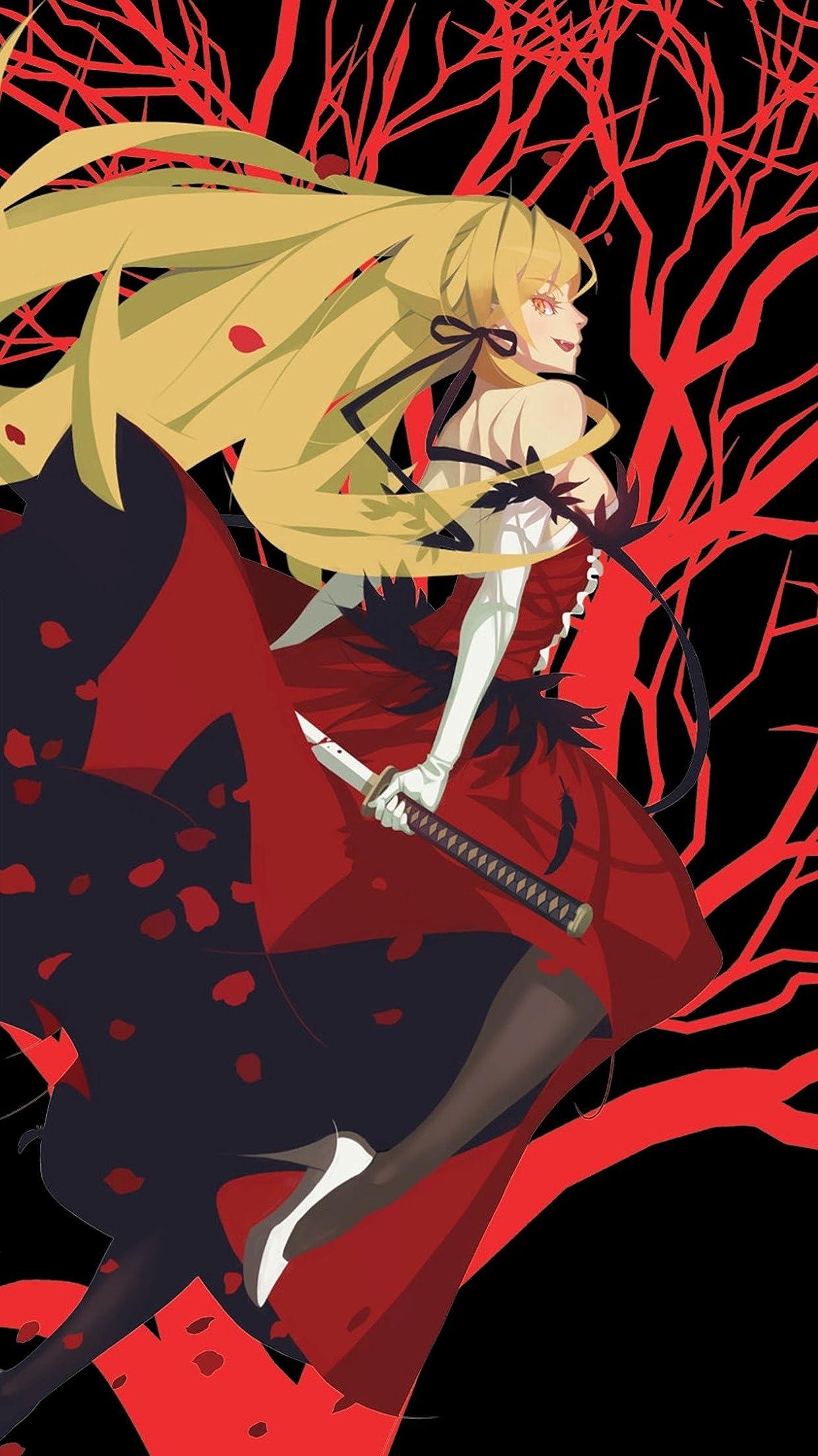 黒×赤背景のキスショットの縦壁紙