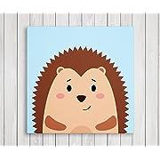 Cute Little Animals Nursery Wall Decor, Baby Room Canvas Art (11  W x 11  H, Hedgehog)