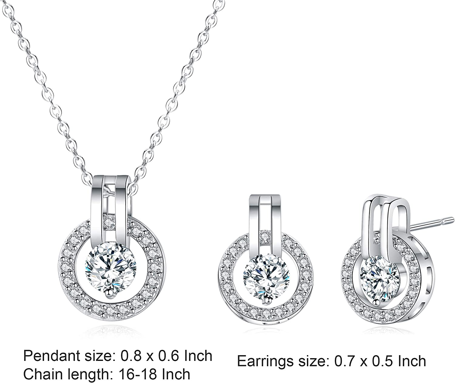 Fashion Prime Gift 18K White Gold Plated Round Necklace Pendant and Stud Earrings for Women Mom Teen Girl Jewelry Set