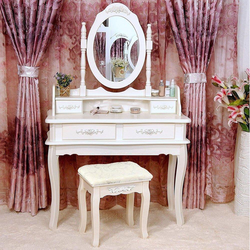kwantasmile White Vanity Makeup Dressing Table Set w/Stool 4 Drawer&Mirror Jewelry Wood Desk
