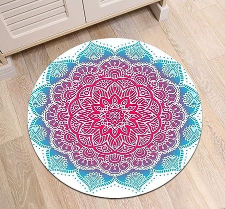 Indien,Mandela,blau,rot,weiß_Rund Fläche Teppich Wohnzimmer Schlafzimmer  Badezimmer Küche Bodenmatte Inneneinrichtung,60x60 CM JinShiZhuan