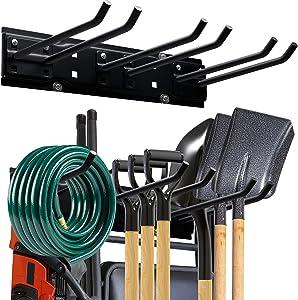 Garage Storage Organization Tool Rack,Heavy Duty Garden Tool Organizer Wall Mount Garage Hooks, Space Saving Max 200 lbs Tool Hanger Yard Tool Rack