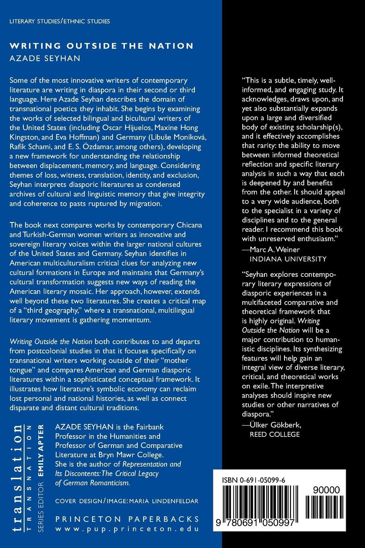Writing Outside the Nation (Translation/Transnation): Amazon.co.uk: Azade  Seyhan: 9780691050997: Books