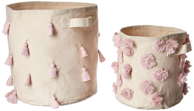 Mud Pie E8 Nursery Decor Tassel /& Pom-Pom Canvas Storage Bin 2 Piece Set B07BMHTJZV Pink