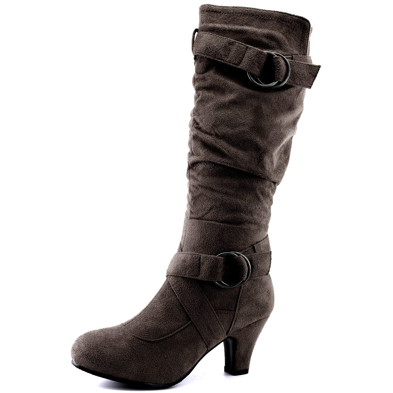 Dailyshoes Women's Slouchy Mid Calf Strappy Boots with Ankle and Top Straps - 2'' Heel Fashion Boots,10 B(M) US,Brown SV w/Side Pocket