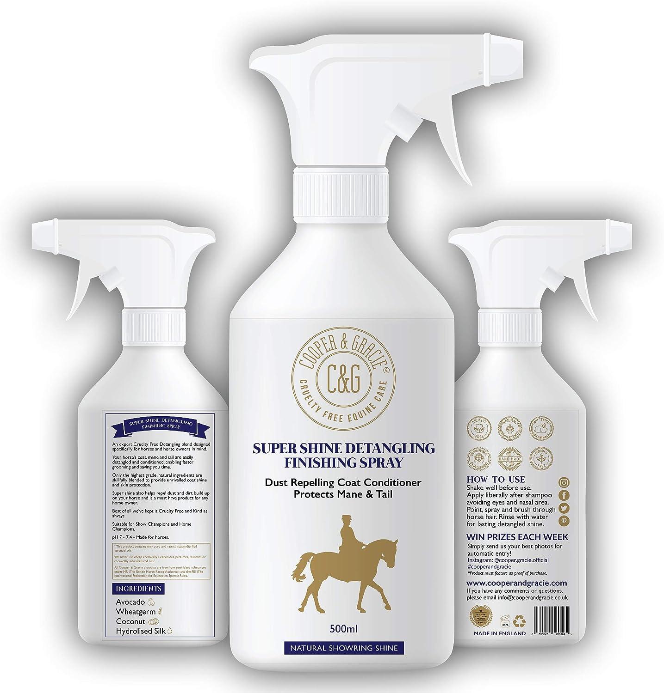 C&G Pets | Horse Super Shine Spray de Acabado desenredante 500 ml | Acondicionador Repelente de Polvo | Ingredientes Naturales | Protege el Brillo Natural de la Cola