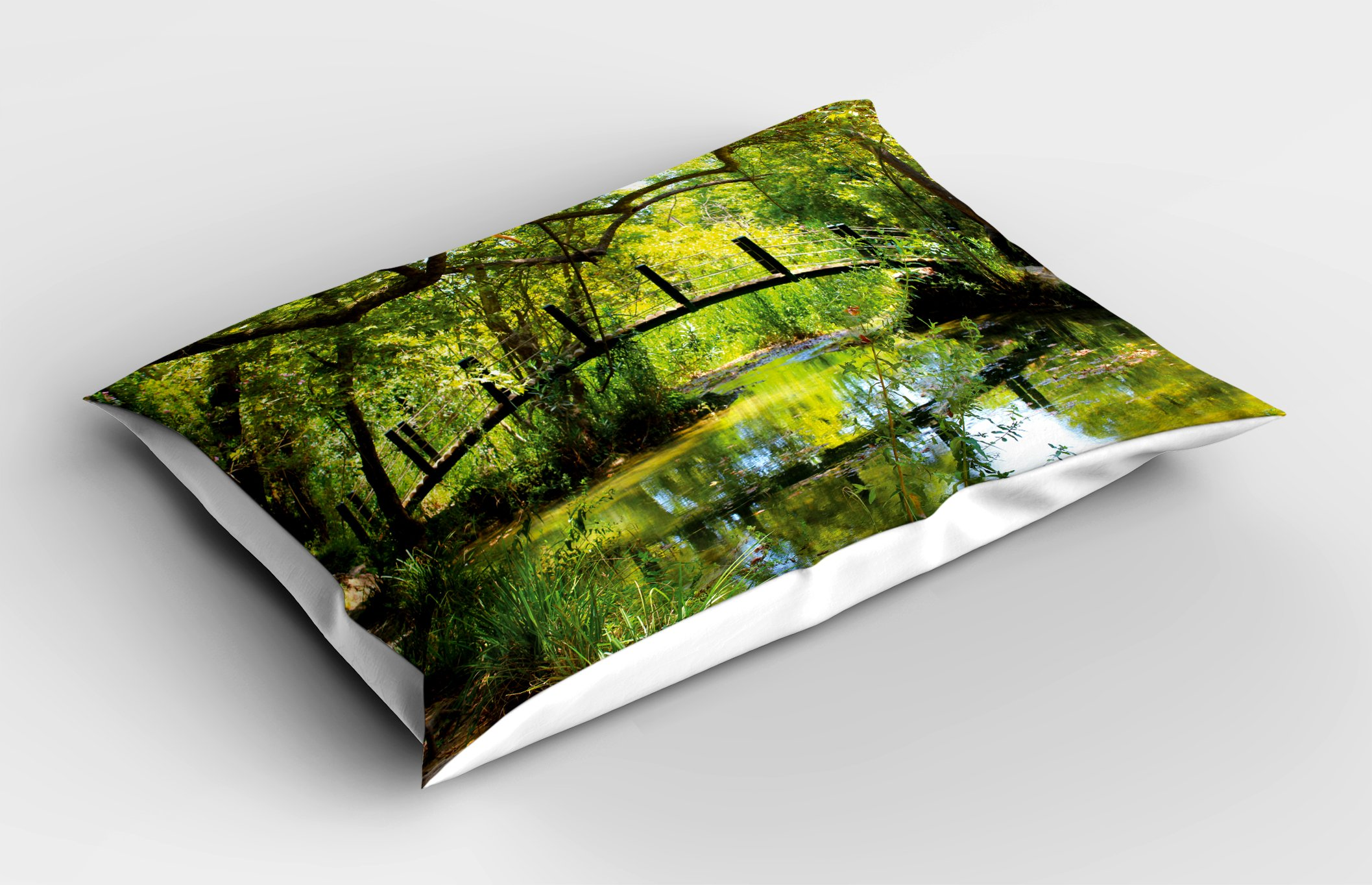 Lunarable Nature Pillow Sham, Photo of a Forest with Bridge Lake Wilderness Woods Greenery Spring Rural Scenery, Decorative Standard Size Printed Pillowcase, 26 X 20 inches, Green Brown by Lunarable (Image #2)