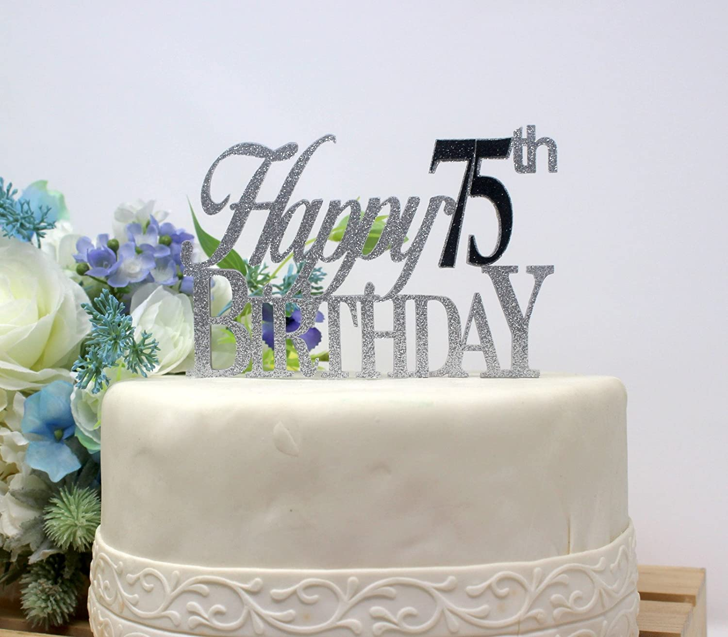All About Details Black Happy 75th Birthday Cake Topper AX AY ABHI 72638