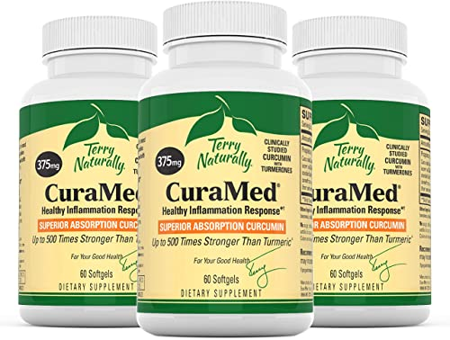 Terry Naturally CuraMed 375 mg 3 Pack – 60 Softgels – Superior Absorption BCM-95 Curcumin Supplement, Promotes Healthy Inflammation Response – Non-GMO, Gluten-Free, Halal – 180 Servings