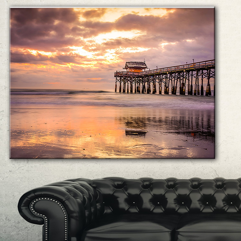 48x28-4 Equal Panels Designart Cocoa Beach Florida-Landscape Photo Canvas Art Print-48x28-4