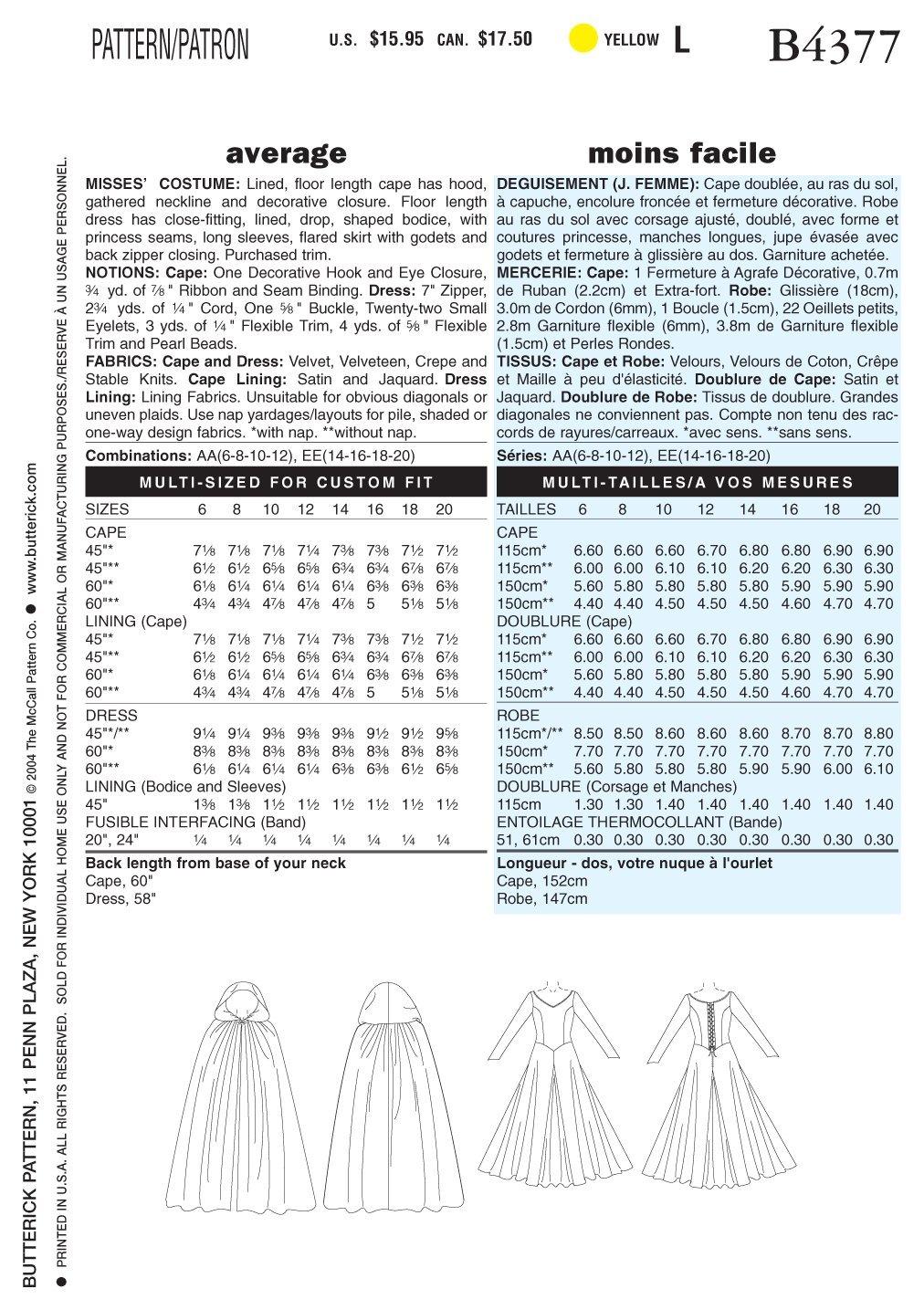 Modisch 6-12 Schnittmuster zum N/ähen Elegant Butterick BTK 4377 AA Extravagant