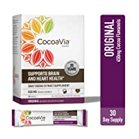 CocoaVia Heart & Brain Supplement, Original Flavor, Drink Mix l Vegan and Plant Based l Cocoa Flavanol Supplement for Improved Cognitive Function and Heart Health l 30 Servings