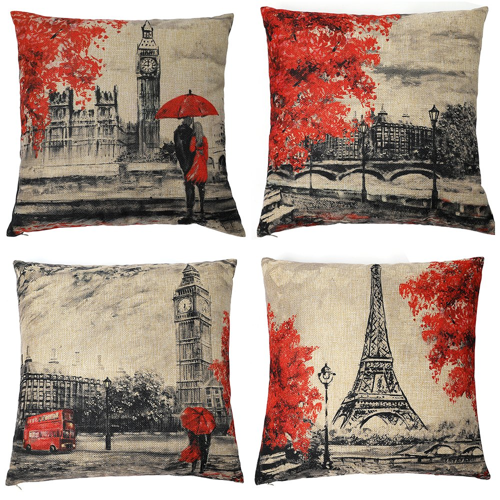 Kate 4 Packs Throw Pillow Covers 18 x 18 Inches Black & Red Color Eiffel Tower & Big Ben Pillow Case Decorative Cushion Cover for Soft, Home, Bedroom, Indoor or Out Door Pillowcase(Set of 4) by Kate