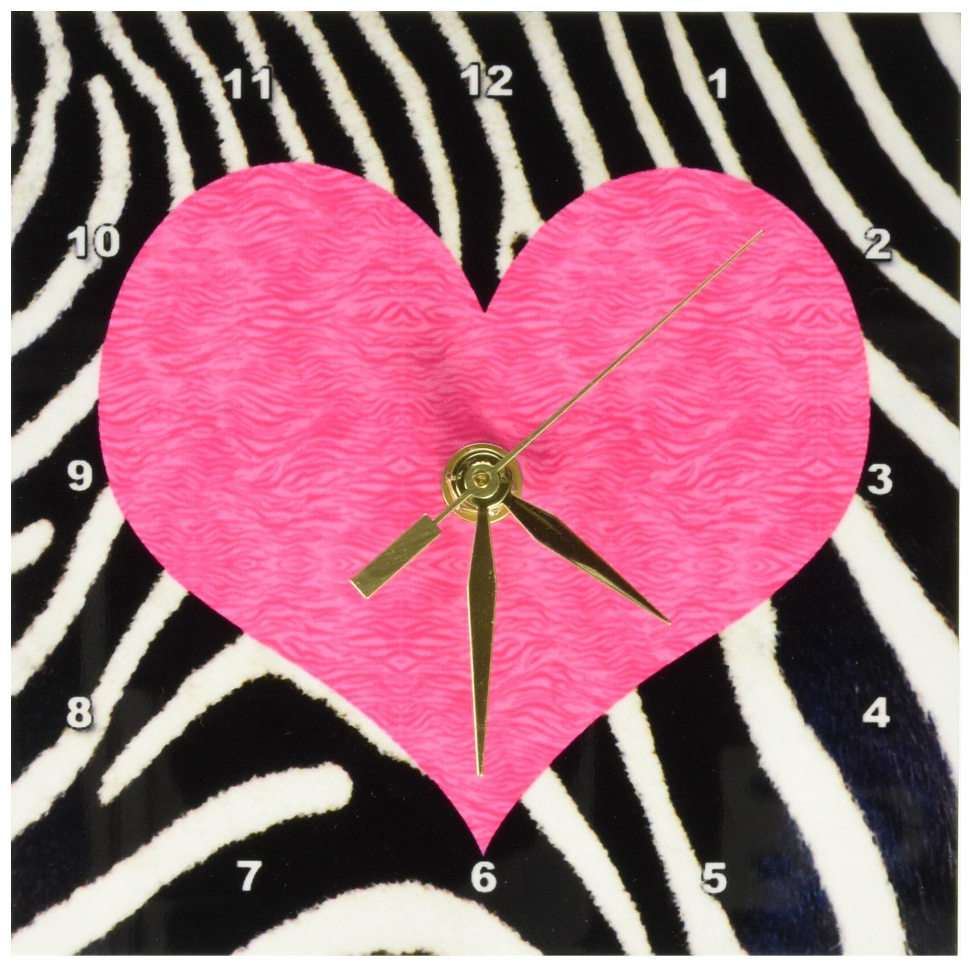 3dRose LLC Punk Rockabilly Zebra Animal Stripe Pink Heart Print Desk Clock, 6 by 6-Inch