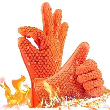 Guantes de cocina resistentes al calor para barbacoa, guantes de horno profesionales, mejores guantes