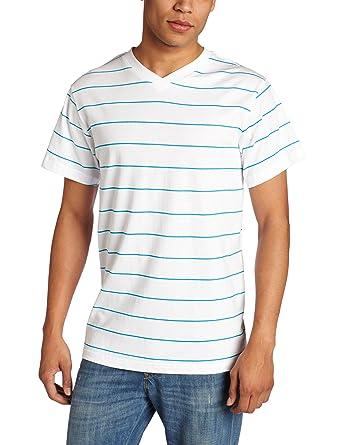cfa40b3dcd24 Southpole Men's Basic Printed Striped V-Neck T-Shirt, Ocean Blue, Large