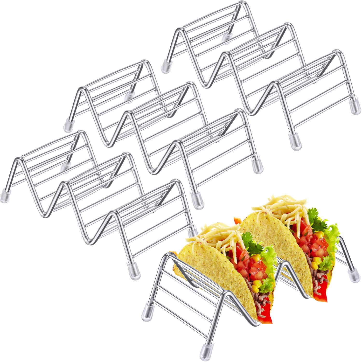 Pangda 4 Pack Stainless Steel Taco Holders Stand Taco Rack W Space for Hard or Soft Shell Tacos (Small)