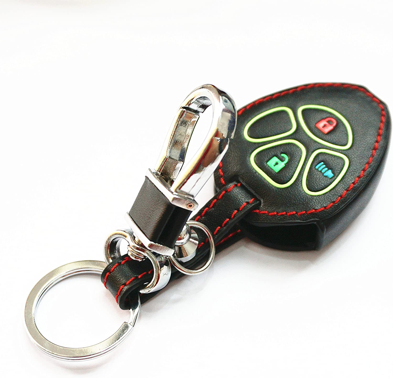 WFMJ Black Leather 3 Buttons Remote Key Chain Cover Case Fob for Toyota 4Runner Corolla Matrix RAV4 Venza Yaris Vibe Scion iQ tC xB xD