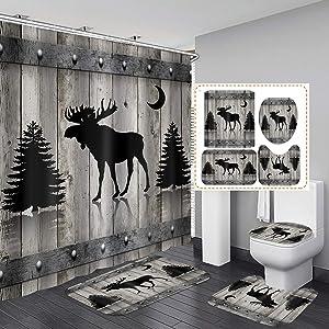 Camille&Andrew 4PCS/Set Black Rustic Deer Fabric Shower Curtain, Moose Elk Pine Tree Moon Farmhouse Country Rustic Panel Grey Wooden Board Bathroom Decor, Non-Slip Bathroom Mat Bath Rugs, Silhouette