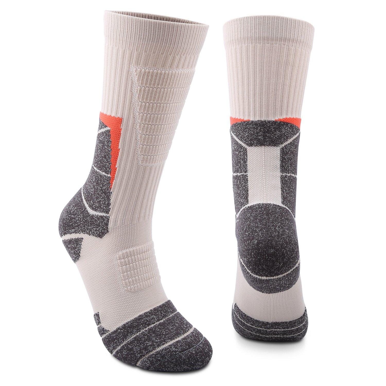 Mens & Womens Athletic Socks High Performance Wicking Cushion Crew Socks For Sports, Running, Soccer, Basketball, Football
