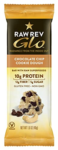 Raw Rev Glo Protein Bars, Chocolate Chip Cookie Dough, 1.6 Ounce each Bar, 12 Count Pack of 1