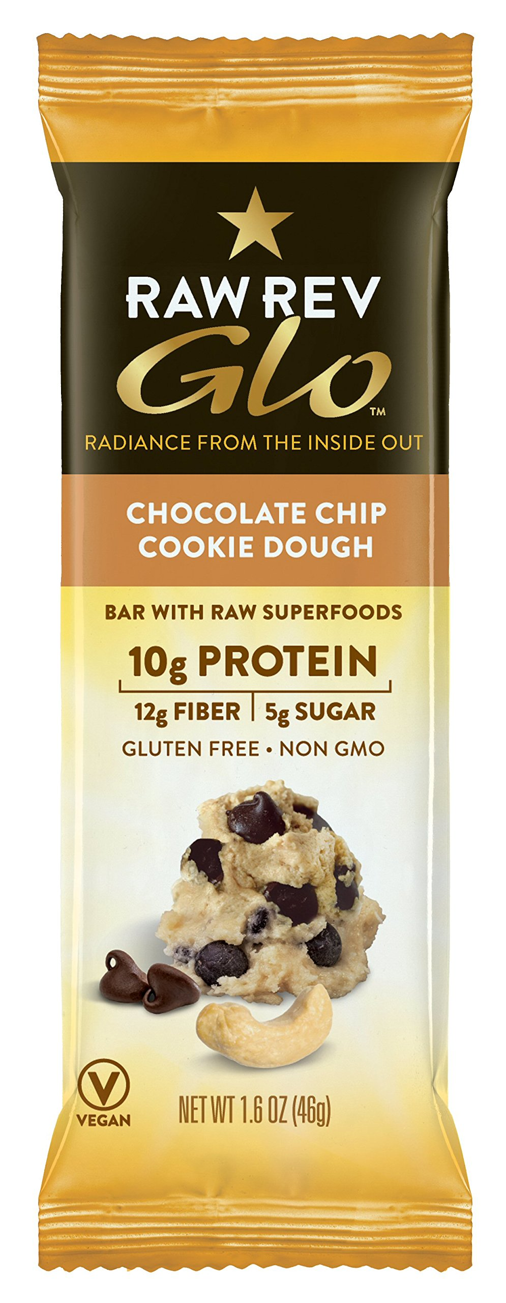 Raw Rev Glo Vegan, Gluten-Free Protein Bars - Chocolate Chip Cookie Dough 1.6 ounce (Pack of 12)
