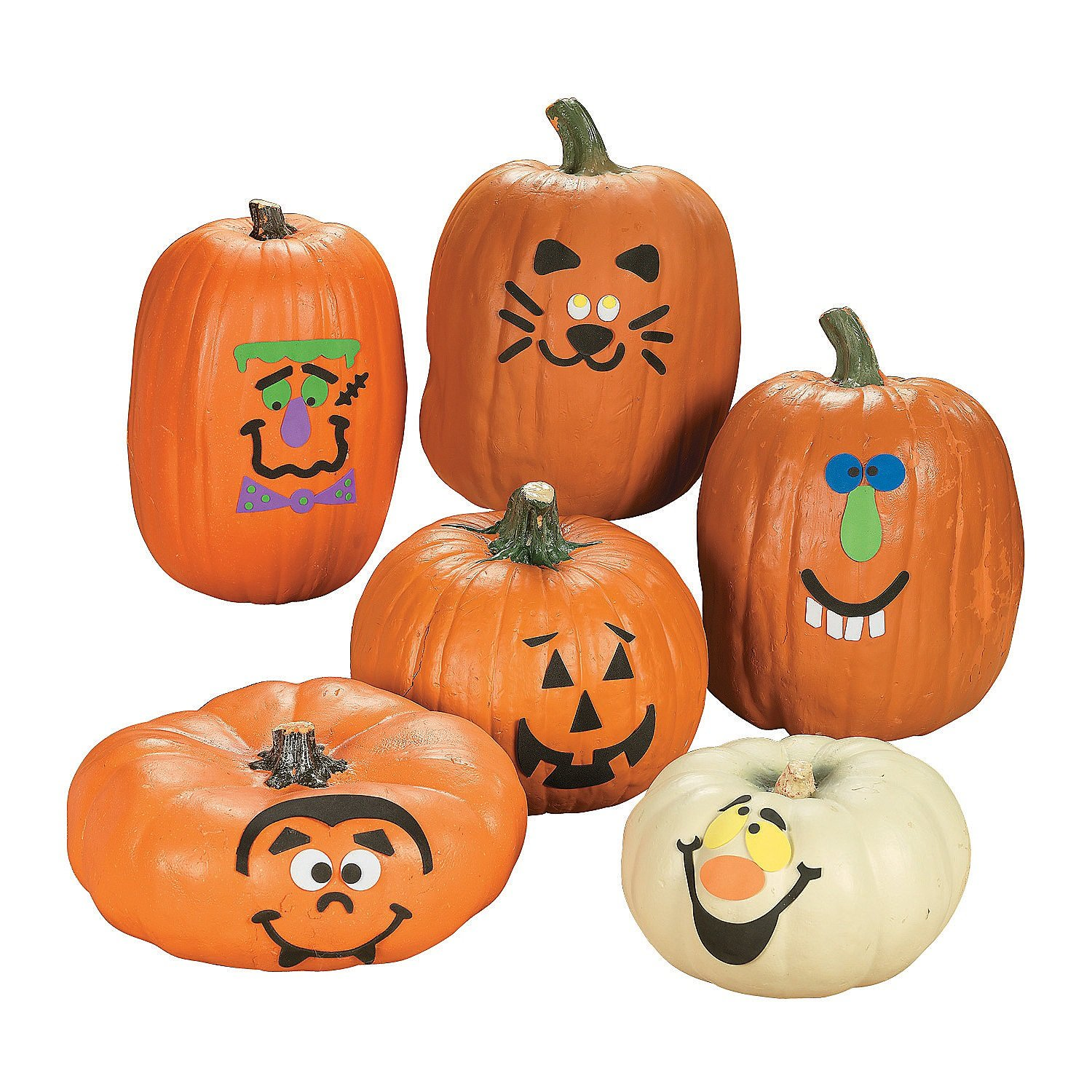 Funny face pumpkin kit to decorate with for kids Halloween craft activity