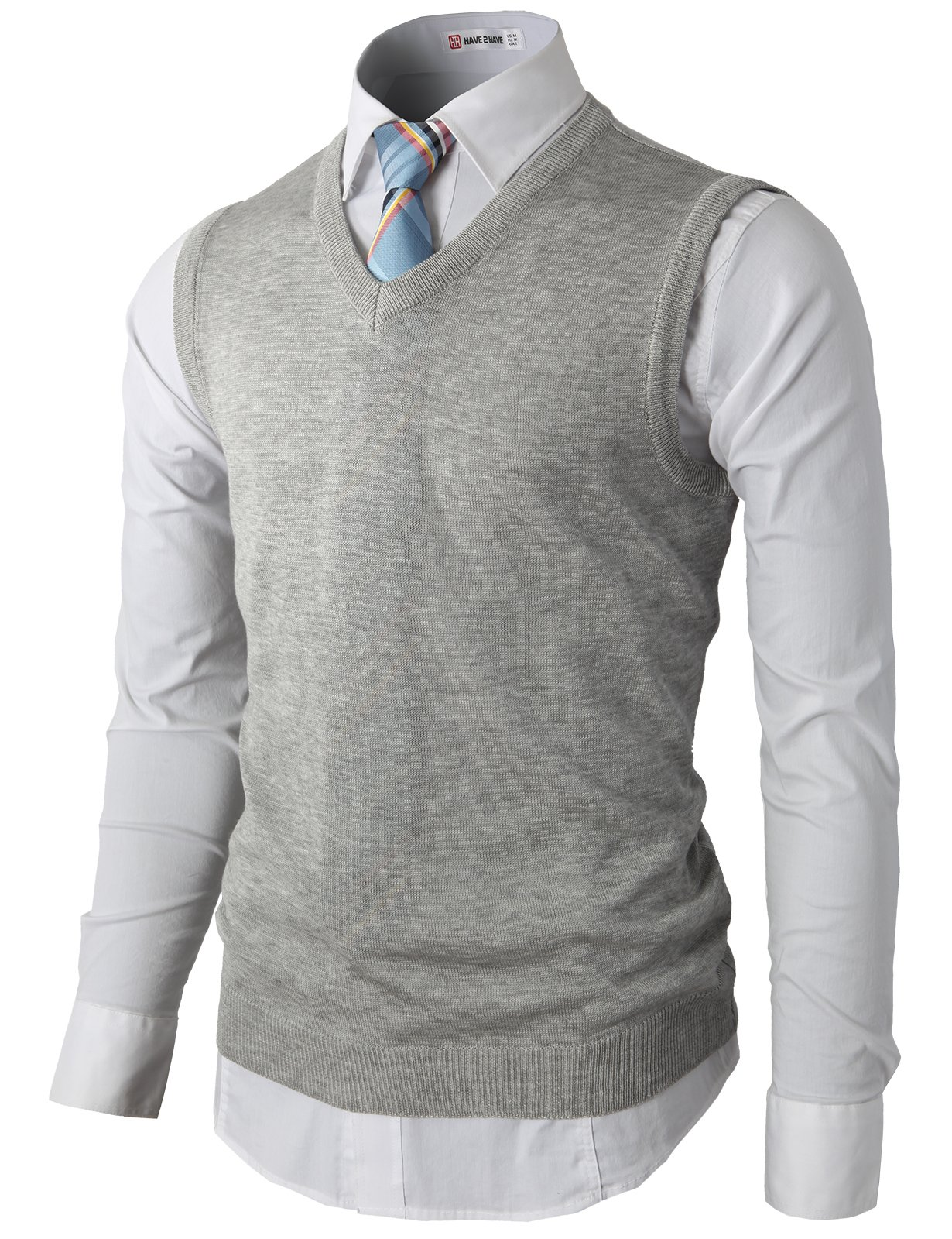 H2H Men's Pima Cotton Thermal Sweater Vest With Ribbed V-neckline GRAY US L/Asia XL (KMOV050)
