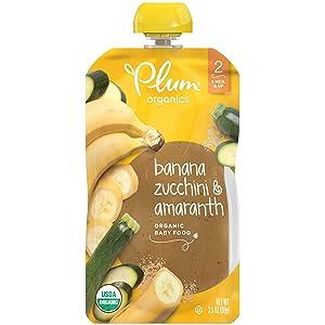 Plum Organics Stage 2 Organic Baby Food, 3.5 Pouch (Pack of 12) Banana, Zucchini & Amaranth ,42 Ounce