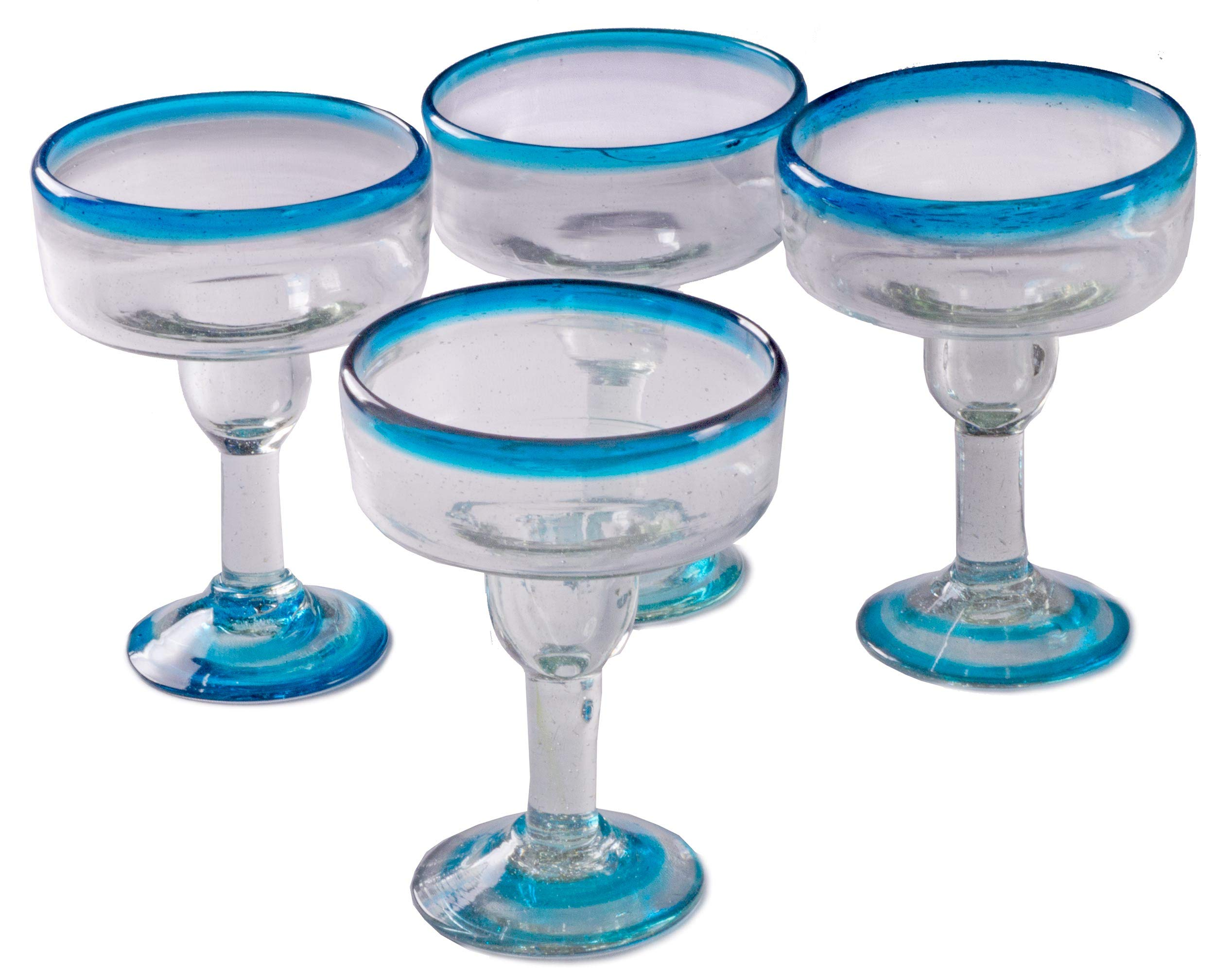 Orion Turquoise Rim 12 oz Margarita Coupette - Set of 4
