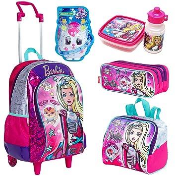 6ad193220 Kit Mochila Infantil Barbie Aventura Nas Estrelas Lancheira Estojo Verde