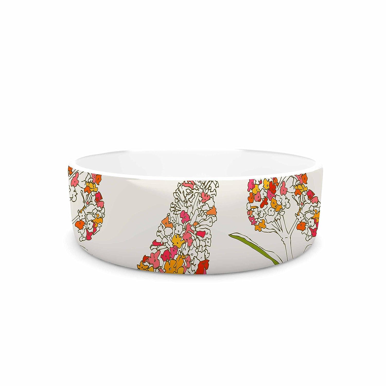 4.75\ KESS InHouse Gukuuki Barika Belva  Coral Floral Pet Bowl, 4.75