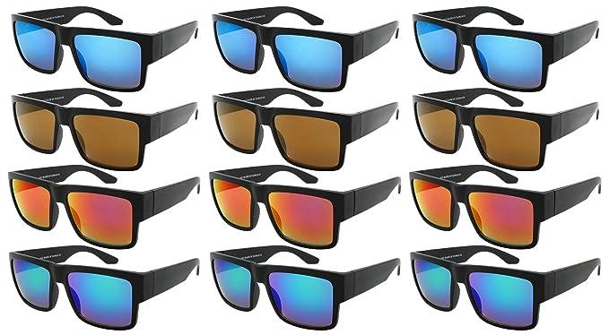 d000a61a1b Edge I-Wear 12 Bulk Wholesale Sunglasses Square Men Women 80s Retro Style Mirrored  Lens