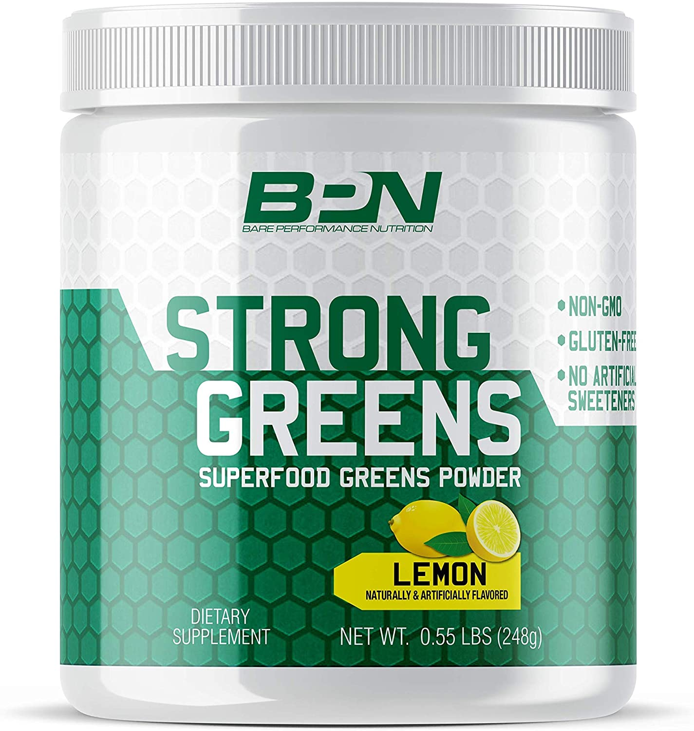 Bare Performance Nutrition, Strong Greens Superfood Powder, Antioxidants, Non-GMO, Gluten Free and No Artificial Sweeteners, Wheat Grass, Coconut Water, Turmeric and Monk Fruit (Lemon)